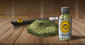 Dokha bottle in the table
