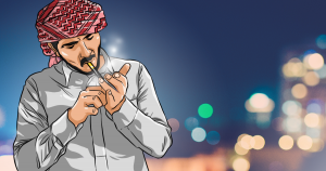 man smoking dokha in a medwakh pipe